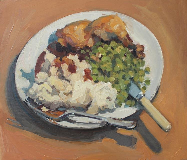 'Chicken, Mash, Peas and Gravy', 2015, 30x35cm