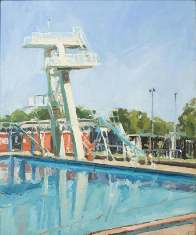 'Diving Board', 2018, 45x40cm, Finalist in the 2018 Tattersall Prize