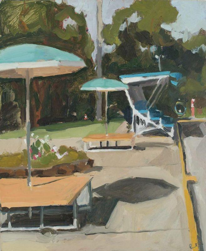 'Speers Point Pool Umbrellas', 2018, 28x23cm