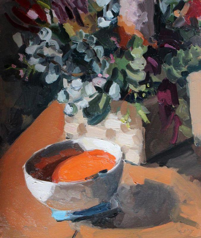'Violent Orange Tomato Soup and Banksias', 2015, 35x30cm